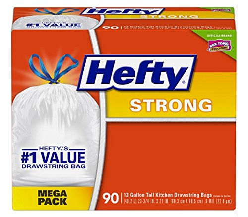 Hefty Strong Tall Kitchen Trash Bags 13 Gallon 90 Count